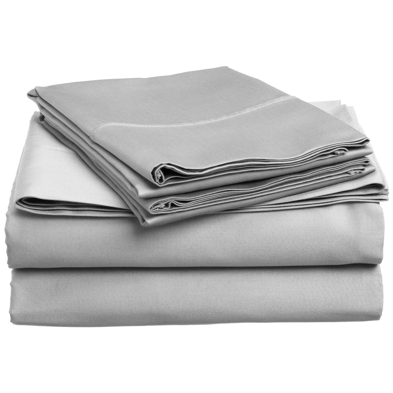100% Premium Combed Cotton, 300 Thread Count; Deep-fitting pocket, Soft & Smooth 4-Piece California King Sheet Set, Solid Light Grey
