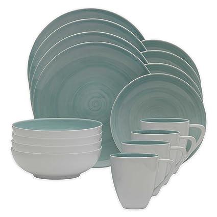 Amazoncom Mikasa Savona 16 Piece Porcelain Dinnerware Set In Teal