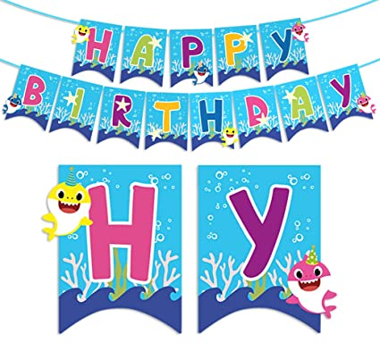 Amazon.com: Baby Shark Happy Birthday Banner Party ...