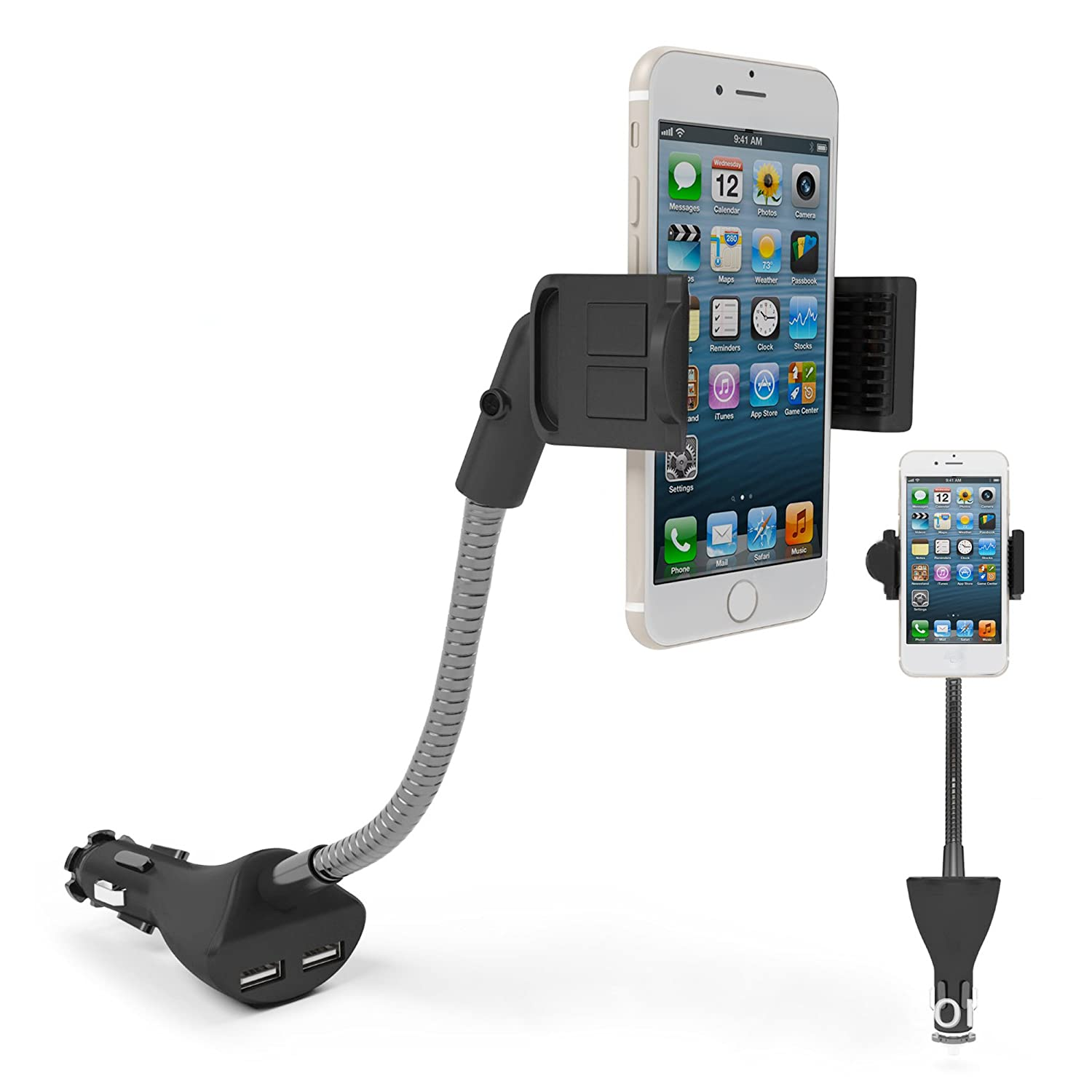 Amazon.com: ETvalley Car Phone Gooseneck Holder with Dual USB 2.1A, 5V Charger With Over Charge and Over Current Protection: Cell Phones & Accessories