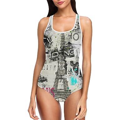 518b5b7186d53 Vintage Eiffel Tower One Piece Swimsuit Swimwear Bathing Suit for Women  Juniors XS