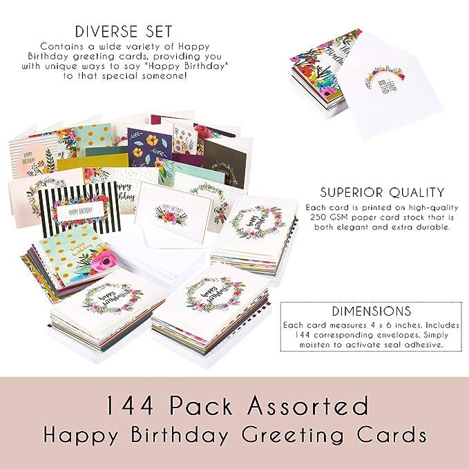 Amazon Birthday Card 144 Pack Birthday Cards Box Set Happy