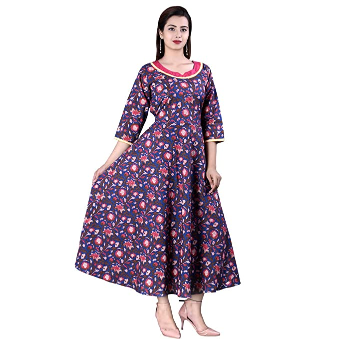 5534d46eed3 Halowishes Beautiful Summer Collection Blue Color Cotton Maxi Dress ...