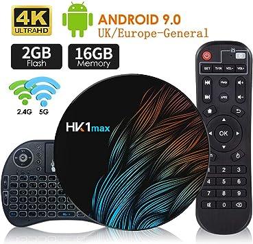 BANFAO Android 9.0 TV Box 【2G+16G】con Mini Teclado inalámbirco RK3318 Quad-Core 64bit Android TV Box, Wi-Fi-Dual 5G/2.4G, BT 4.0, 4K*2K UHD H.265, USB 3.0 Smart TV Box: Amazon.es: Electrónica