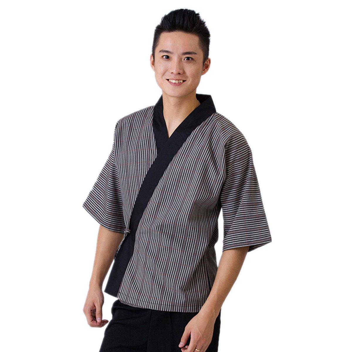XINFU Chef's Short-Sleeved Summer Japanese Kimono Collar Restaurant Men's Half Sleeve Uniform