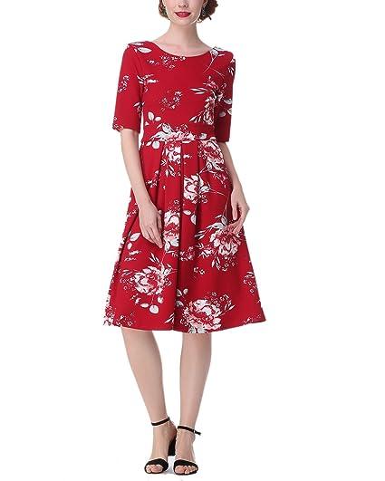 ZAFUL Mujer Vintage Vestido de Fiesta Noche Mangas Medias Talls Grandes-Rojo-S/36: Amazon.es: Ropa y accesorios