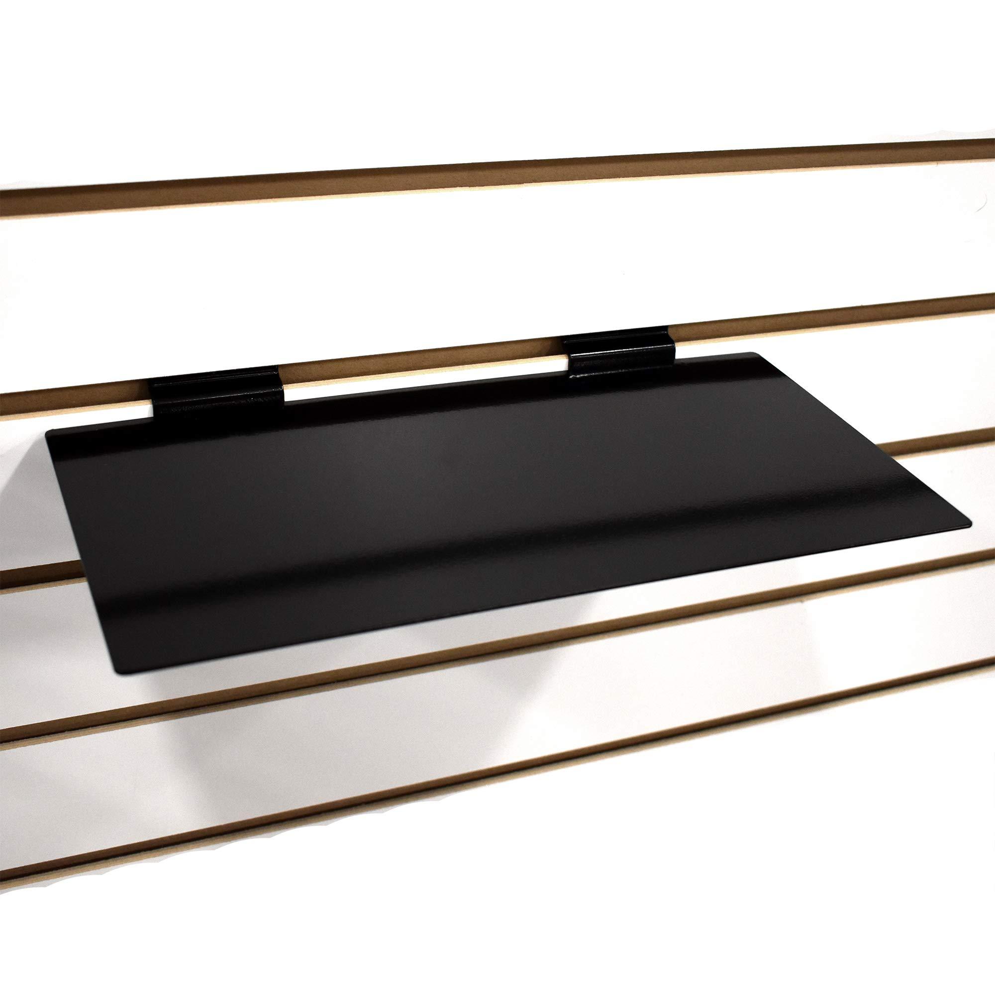 Black Slatwall Metal Large Shoe Shelf, Flat Display Shelves for Slat - 6'' D X 12'' L - 10 Pack