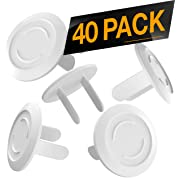 40 Pack Outlet Plugs Covers [Protect Your Child] Child Proof - Best Safety Electrical Power Socket Plug Wall Cover Protector - Plastic Baby Proofing Caps [Perfect FIT] White (40 Pack)