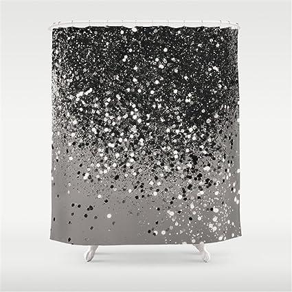Weeya Silver Gray Glitter 1shiny Decor Art Shower Curtain 60x72 Inch