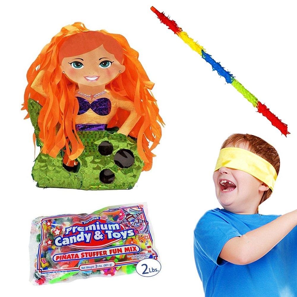 Pinatas Mermaid Kit - Includes, 2 Lbs. Filler, Buster Stick and Bandana