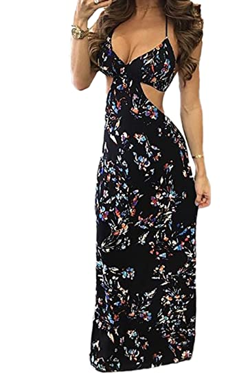 94a3548d97f Womens Floral Maxi Dress Halter Sexy Backless Sundress Long Dress Cocktail  Club (S