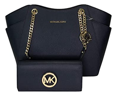 773efeaf3df983 Amazon.com: MICHAEL Michael Kors Jet Set Travel Large Chain Shoulder Tote  bundled with Michael Kors Fulton Flap Continental Wallet (Blue Navy): Shoes