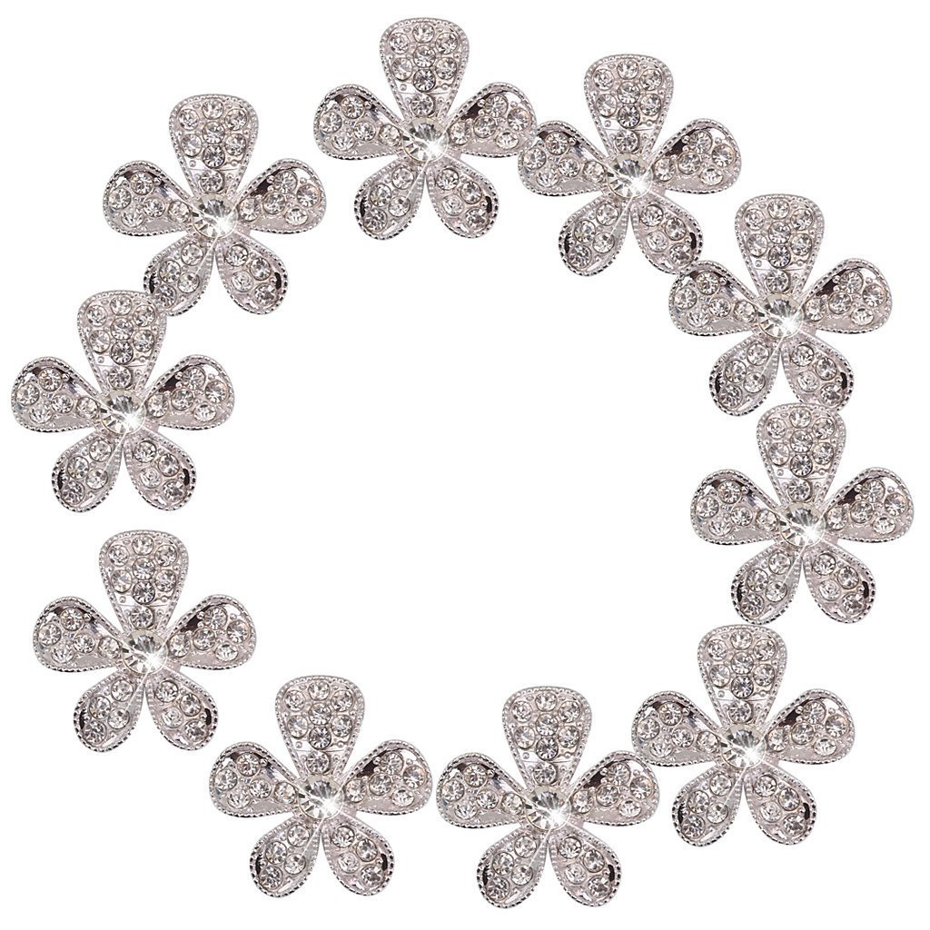 nicebuty 10pcs Phenovo Flor Rhinestone botones DIY Craft adornos plata