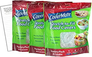 Covermate Stretch-to-fit Food Covers 3pk plus Convenient Magnetic Shopping List by Harper & Ivy Designs, Reusable, Dishwasher Safe, Microwavable, BPA/PVC Free, Great for Leftovers, Heavy Duty, 3 Sizes