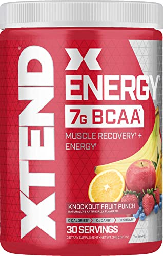 Scivation XTEND Energy BCAA Powder Knockout Fruit Punch 125mg Caffeine Sugar Free Pre Workout Muscle Recovery Drink with Amino Acids 7g BCAAs for Men Women 30 Servings Packaging May Vary