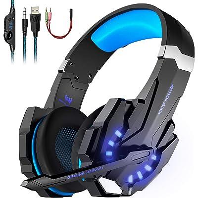 LESHP - Auriculares para gamer G9000con cable para PC, PS4, portátil, tableta y móvil - Con micrófono, audio estéreo, luz led y antirruido Noir+Bleu