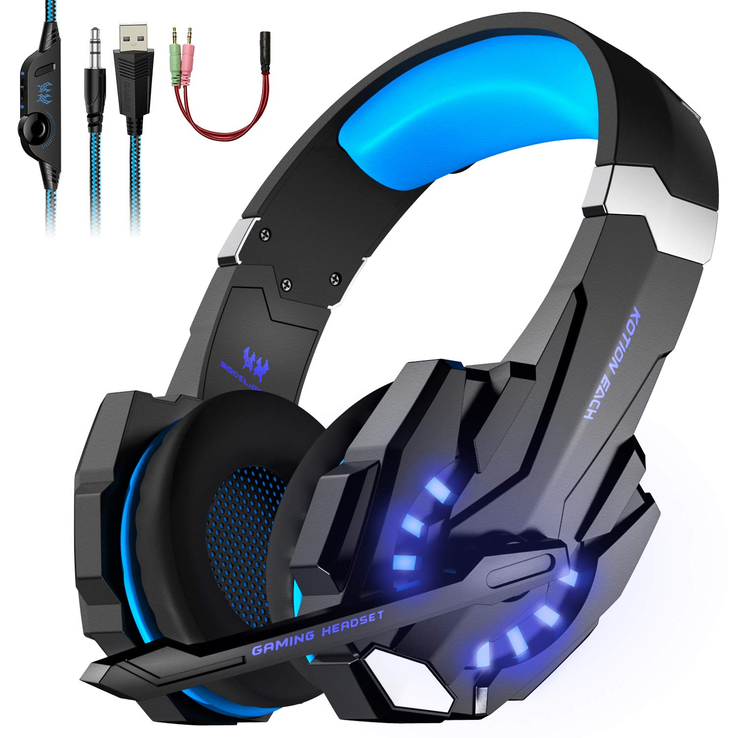Gaming Headset, KOTION EACH PC Headphones with Mic LED Light Noise
