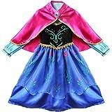 (イーエフイー)EFE コスプレ ハロウィン衣装 子供ドレス アナと雪の女王 コスチューム衣装 仮装 子供ワンピース 変装 マント付き マルチカラー 100