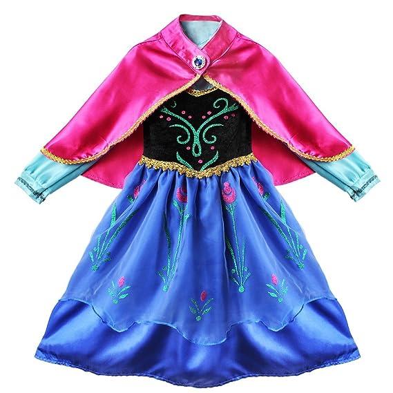 iixpin Vestido Infantil de Princesa con Flores Manga Larga con Capa Disfraz para Niña Cosplay de Fiesta Cumpleaños Halloween Fancy Dress 2-8 Años