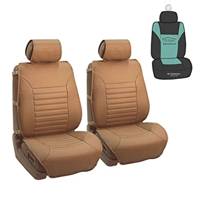 FH Group PU206102 Multifunctional Quilted Leather Seat Cushions Pair Set, Tan Color w. Gift- Fit Most Car, Truck, SUV, or Van: Automotive