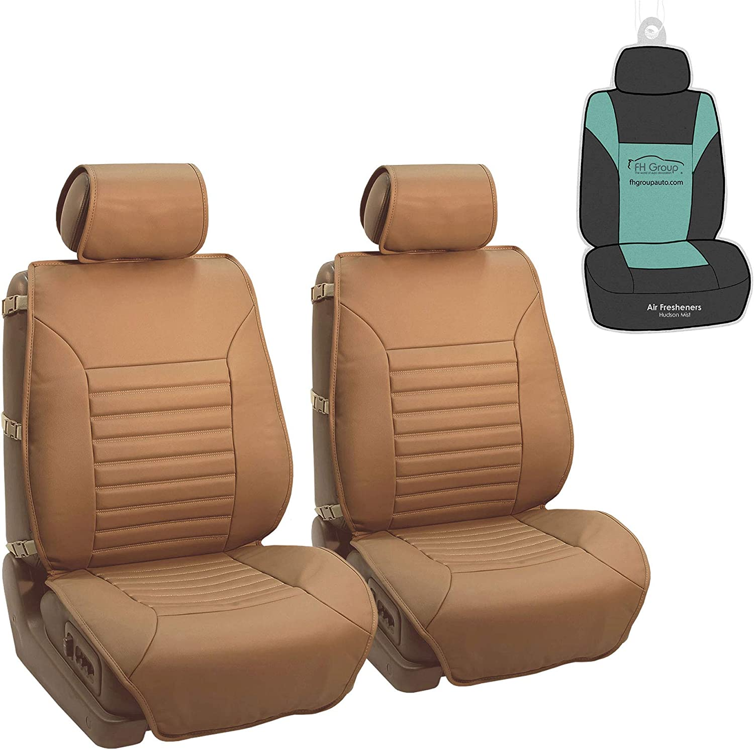 FH Group PU206102 Multifunctional Quilted Leather Seat Cushions Pair Set, Tan Color w. Gift- Fit Most Car, Truck, SUV, or Van
