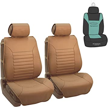 Amazon Com Fh Group Pu206102 Multifunctional Quilted Leather Seat Cushions Pair Set Tan Color W Gift Fit Most Car Truck Suv Or Van Automotive