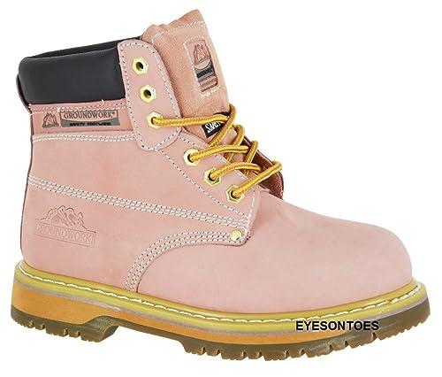 Botas de senderismo de piel con punta de acero de seguridad, color rosa, talla