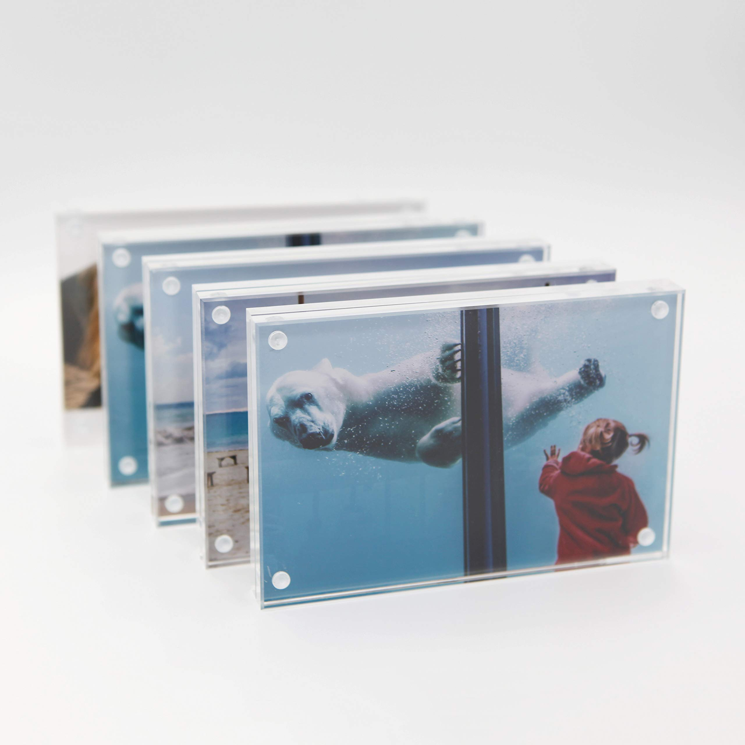 TOOLSURE 5x7 Acrylic Picture Frames,Floating Frame with Gift Box Package 5PACK by TOOLSURE