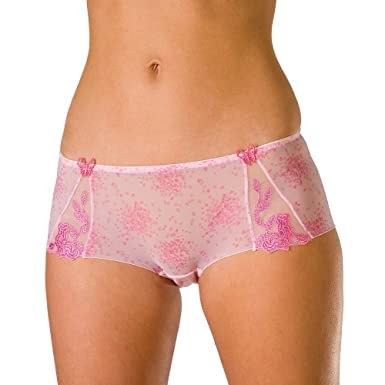 Camille Womens Ladies Pink Sheer Mesh Underwear Lace Boxer Shorts ...