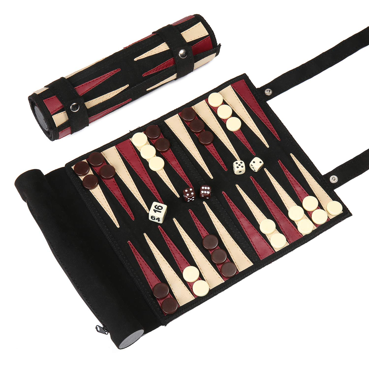 Woodronic Roll Up 3 in 1 Game Set, Backgammon Chess Checker Travel Game Set, Luxirous Suede Leather Travel Size with Gift Packaging, Black & Red