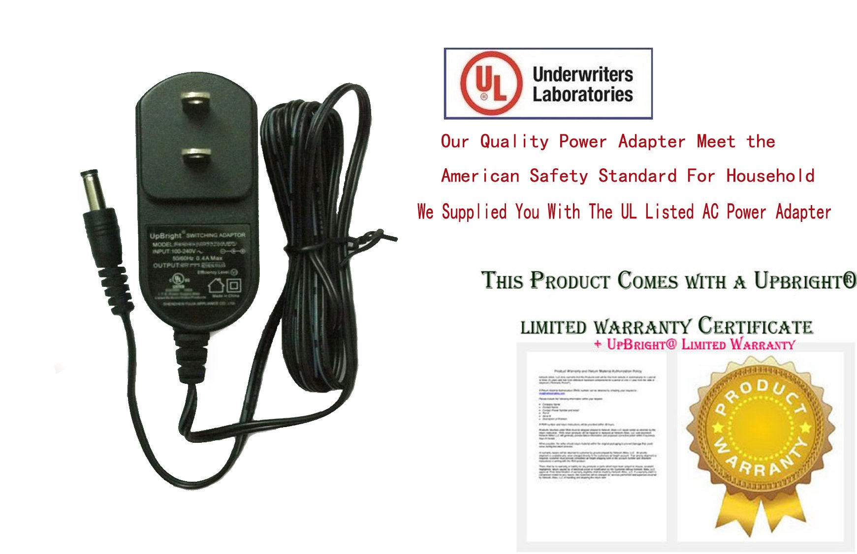 UpBright [UL Listed] New Global 6V AC / DC Adapter For Panasonic EW3109 EW3109W EW3122 EW3122S EW 3109 EW 3109W EW 3122 EW 3122S Blood Pressure Monitor BP 6.0V 6VDC Power Supply Cord Charger PSU
