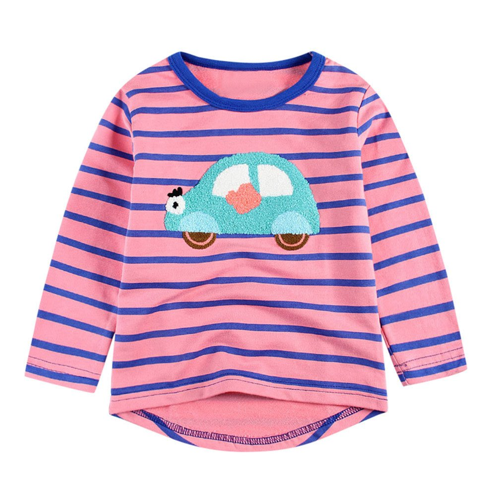 Lonshell_Toddler Clothing Infant Kids Long Sleeve Crew-Neck Pullover Sweatshirts 1-6 Years Old Baby Girls Clothes Autumn Cartoon Applique Striped T-Shirt Outfits Casual Soft Tee Shirt Blouse Tops