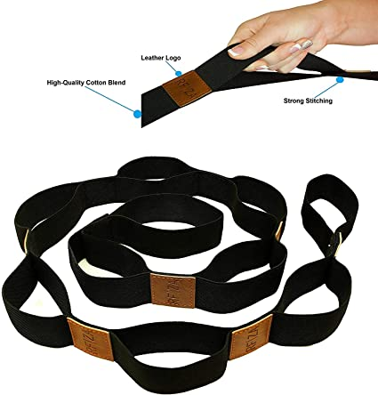 Durable for Stretching 10-Pack of 8-Foot Yoga Straps Thick Cotton Hello Fit Adjustable D-Ring Buckle Wholesale Pricing Flexibility and Exercise