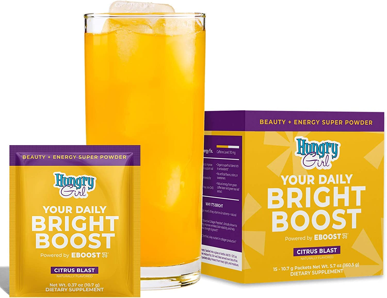 EBOOST Hungry Girl Your Daily Bright Boost – Beauty and Energy Powder – 15 Packets – Collagen Peptides for Healthier Hair, Skin and Nails – 15 Vitamins and Minerals for Daily Health and Immune Support