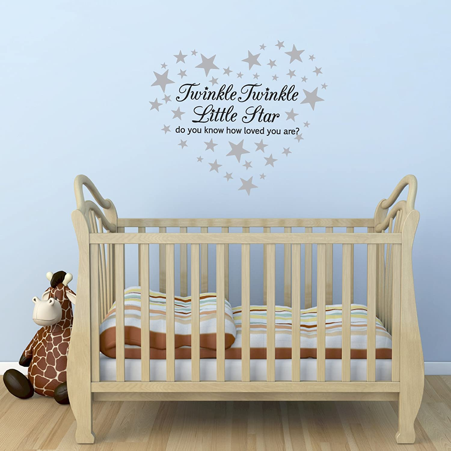 twinkle twinkle little star wall sticker with 60 silver star twinkle twinkle little star wall sticker with 60 silver star stickers amazon co uk kitchen home