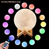 CPLA 3D Moon Lamp LED Night Light Lunar Lamp, Dimmable Remote Control 16 Colors RGB Touch Control Adjustable Brightness Rechargeable Moon light with Wooden Base for Home Decorative 5.9 inch 15CM