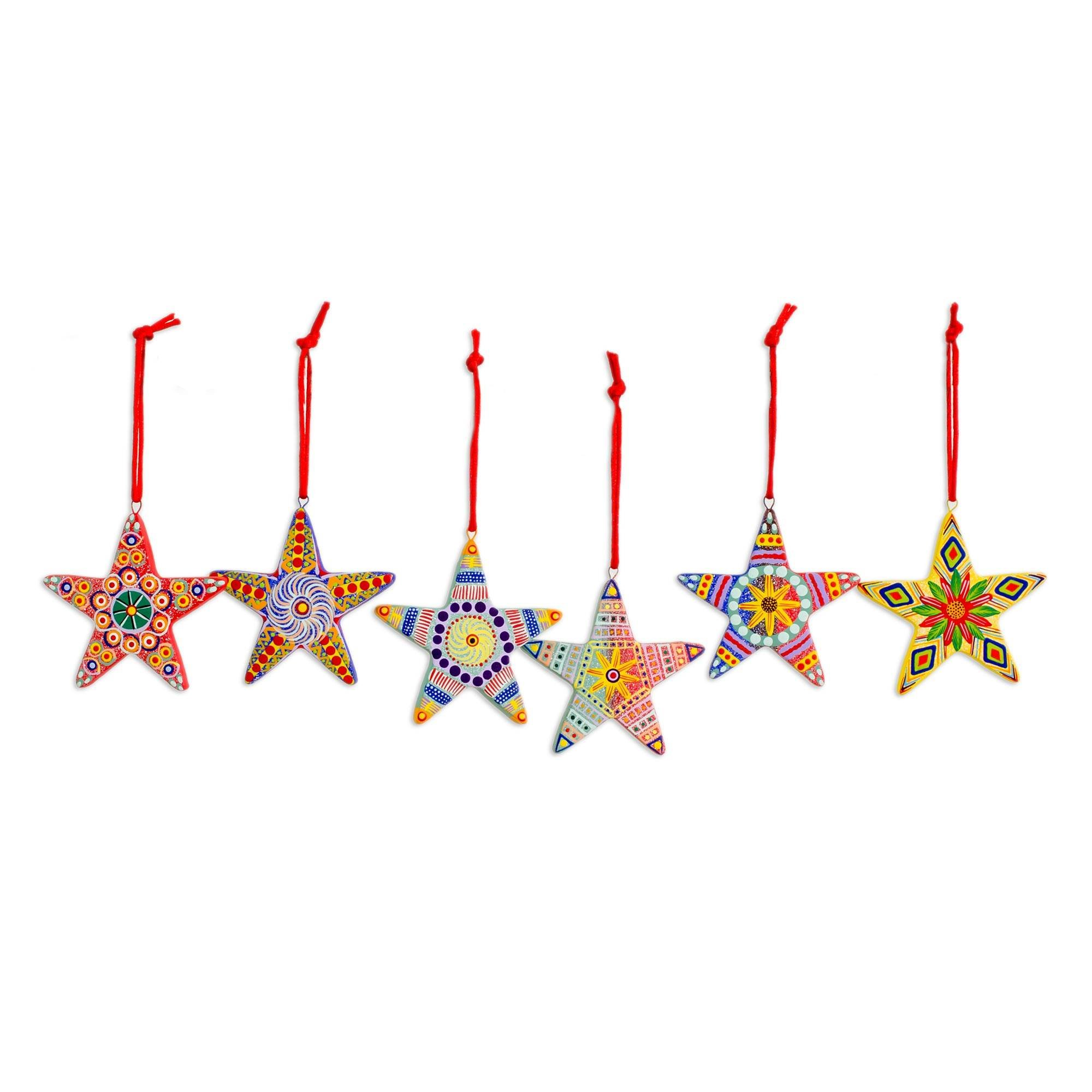 NOVICA Hand Painted Multi-Color Ceramic Holiday Ornaments, Christmas Star' (Set of 6), Made in Central America