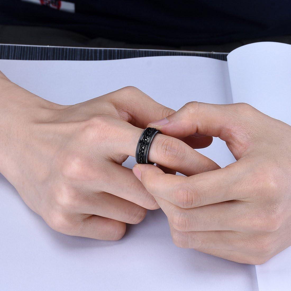 King Will Intertwine Stainless Steel 8mm Rings for Men Center Chain Spinner Ring Black//Blue
