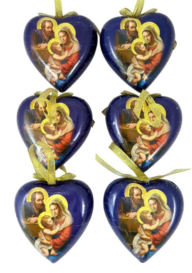 Adoring Holy Family Heart Shape Decoupage Nativity Christmas Ornament, Set of 6, 3 1/2 Inch by Catholic Brands