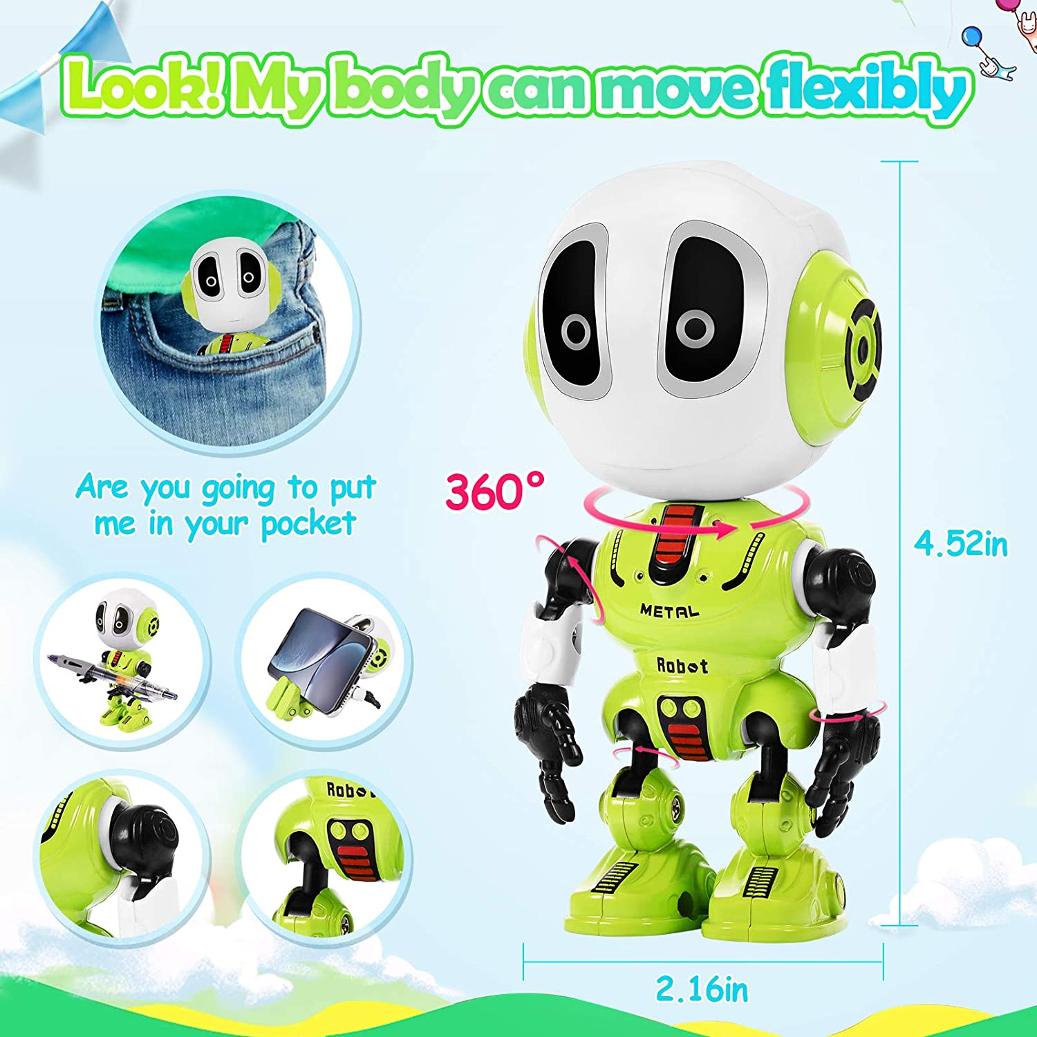 Blue Tesoky Toys for 3-12 Year Old Boys Girls Fun Talking Robot Boys Girls Toys Age 4-6 Interactive Recharge Robot Toy for Kids Repeat What You say with LED Eyes Flexible Body Halloween Xmas
