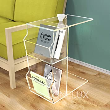 Acrylic C Shaped Occasional Side Sofa Tea Table With Magazine  Pockets,Waterfall Lucite Nightstands With