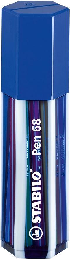 Premium Filzstift Stabilo Pen 68 20er Big Pen Box In Dunkelblau Mit 20 Verschiedenen Farben Bürobedarf Schreibwaren