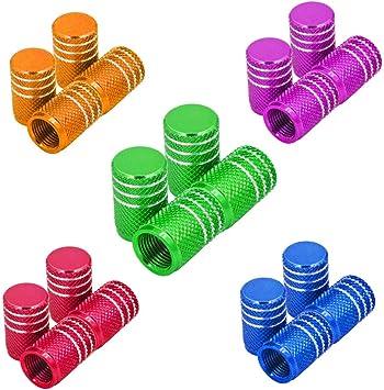 Senven 20 Pcs Hochwertige Farbe Aluminium Ventilkappen Reifenventil Staubkappen Auto Motorrad Lkw Fahrrad Verhindern Luftleckage Universal Reifenventilkappen Baumarkt