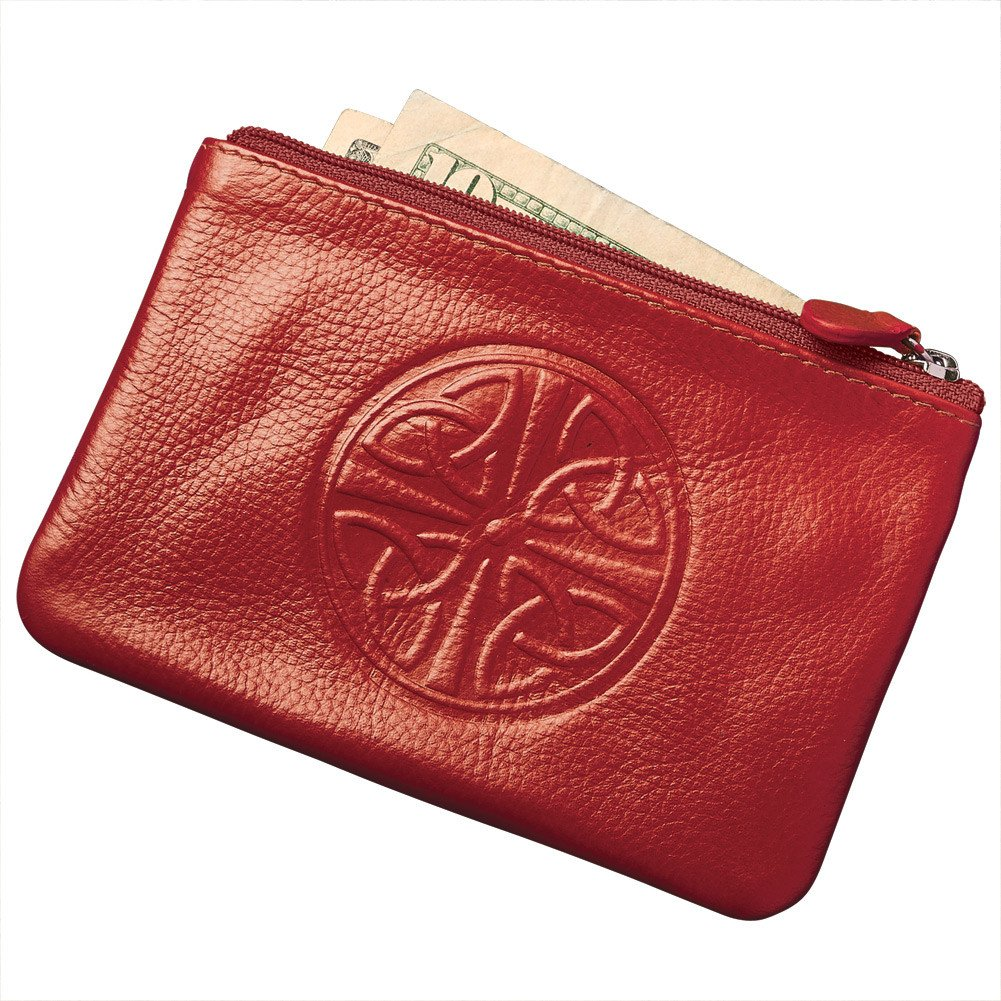 Women's Celtic Knot Coin Purse - RFID Blocking - Leather - 5'' x 3.25'' - Red