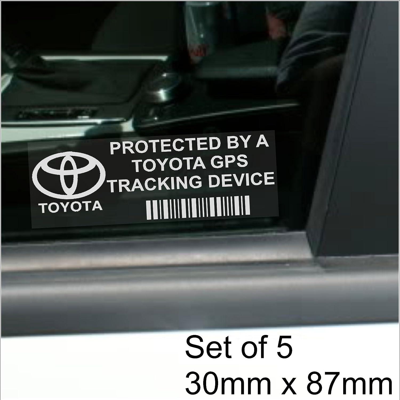 Prius RAV4 87 x 30 mm Yaris scritta GPS Tracking Device per Toyota modelli Avensis per la sicurezza 5 adesivi per finestrino Corolla
