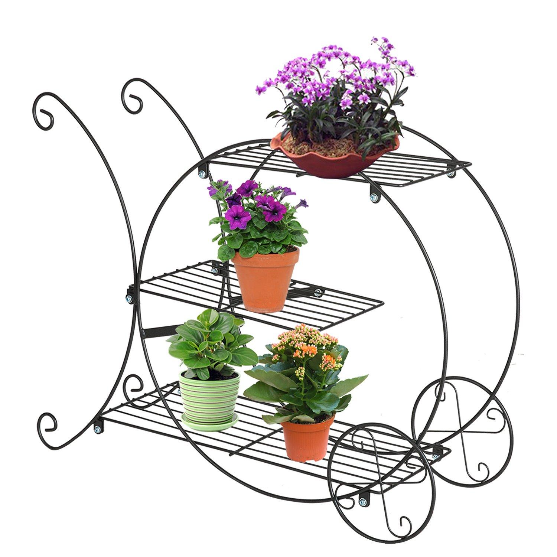 DOEWORKS 3 Tier Metal Garden Carts Plant Stands Flower Pot Holder Display Rack,Black