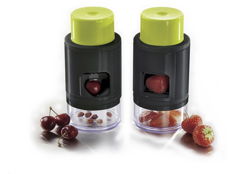 Ibili Cherry Pitter/Strawberry Slicer, Green/Black/Transparent 793300