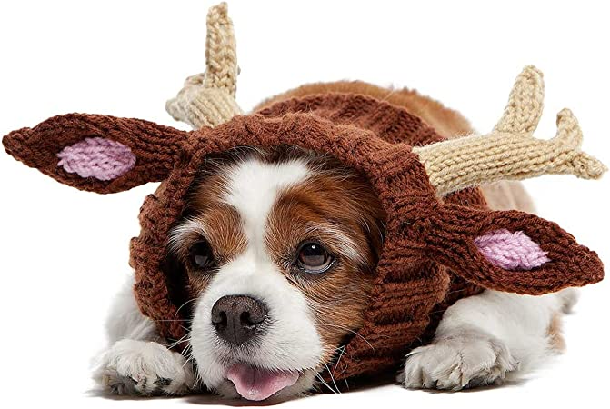 Amazon.com : Zoo Snoods Reindeer Dog Costume - Neck and Ear Warmer Hood for  Pets (Medium) : Pet Supplies
