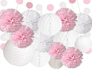 Anokay Hochzeit Deko Set Seidenpapier Pompoms Luftballons Rund