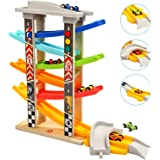 Toddler Toys Race Track for 1 2 Year Old Boy Gifts Wooden Car Ramp Racer with 6 Mini Cars